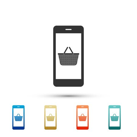 Black Mobile phone and shopping basket icon isolated on white background. Online buying symbol. Supermarket basket symbol. Color set icons. Vector Illustration