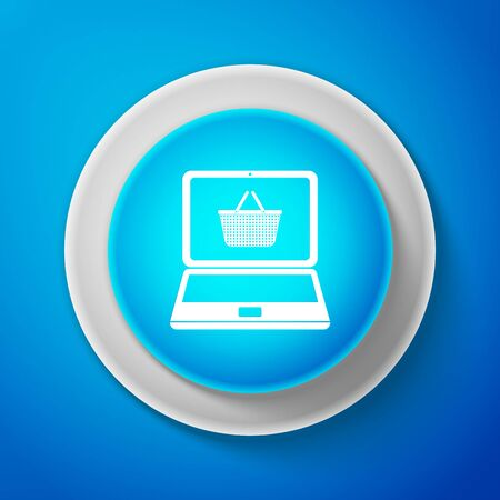 White Shopping basket on screen laptop icon isolated on blue background. Concept e-commerce, e-business, online business marketing. Circle blue button. Vector Illustration