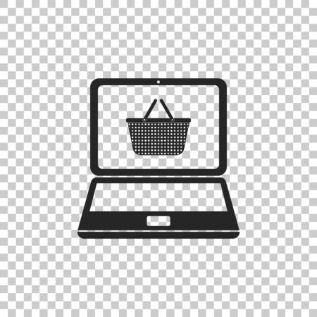 Black Shopping basket on screen laptop icon isolated on transparent background. Concept e-commerce, e-business, online business marketing. Flat design. Vector Illustration