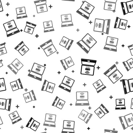 Black Laptop and free wi-fi wireless connection icon isolated seamless pattern on white background. Wireless technology, wi-fi connection, wireless network, hotspot concepts. Vector Illustration
