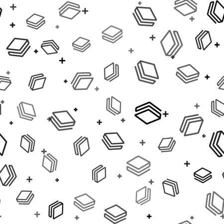 Black Cryptocurrency coin Stratis STRAT icon seamless pattern on white background. Physical bit coin. Digital currency. Altcoin symbol. Blockchain based secure crypto currency. Vector Illustration Ilustrace