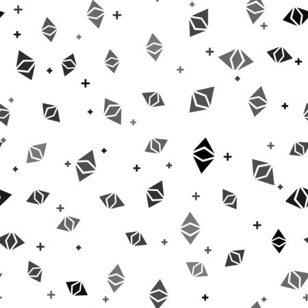 Black Cryptocurrency coin Ethereum classic ETC icon seamless pattern on white background. Physical bit coin. Digital currency. Altcoin. Blockchain based secure cryptocurrency. Vector Illustration