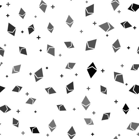 Black Cryptocurrency coin Ethereum ETH icon seamless pattern on white background. Physical bit coin. Digital currency. Altcoin symbol. Blockchain based secure crypto currency. Vector Illustration