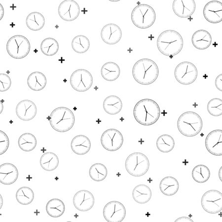 Black Clock icon isolated seamless pattern on white background. Time icon. Vector Illustration