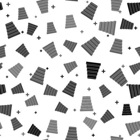 Black Staircase icon isolated seamless pattern on white background. Vector Illustration Ilustrace