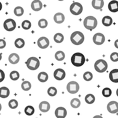 Black Bandage plaster icon isolated seamless pattern on white background. Medical plaster, adhesive bandage, flexible fabric bandage. Vector Illustration