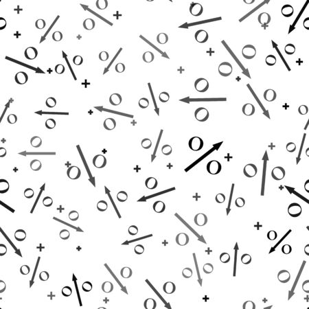 Black Percent down arrow icon isolated seamless pattern on white background. Decreasing percentage sign. Vector Illustration