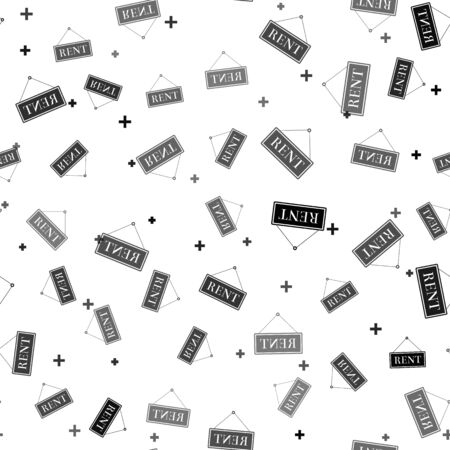 Black Hanging sign with text Rent icon isolated seamless pattern on white background. Vector Illustration Illusztráció