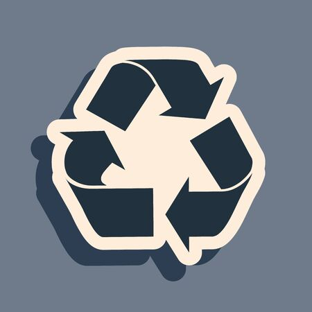 Black Recycle symbol icon isolated on grey background. Circular arrow icon. Environment recyclable go green. Long shadow style. Vector Illustration