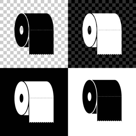 Set Toilet paper roll icon isolated on black, white and transparent background. Vector Illustration Vectores