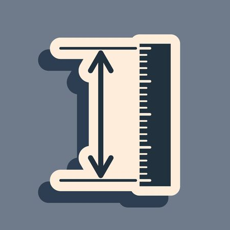Black The measuring height and length icon isolated on grey background. Ruler, straightedge, scale symbol. Geometrical instruments. Long shadow style. Vector Illustration