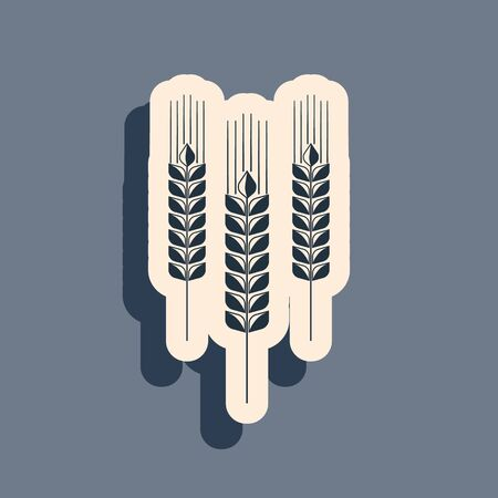 Black Cereals icon set with rice, wheat, corn, oats, rye, barley icon isolated on grey background. Ears of wheat bread symbols. Agriculture wheat symbol. Long shadow style. Vector Illustration