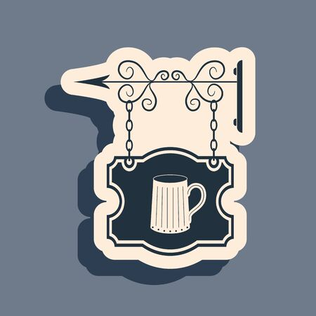 Black Street signboard hanging on forged brackets with wooden mug of beer icon isolated on grey background. Suitable for bar, tavern, cafe, pub, restaurant. Long shadow style. Vector Illustration Illustration