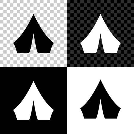 Set Tourist tent icon isolated on black, white and transparent background. Camping symbol. Vector Illustration