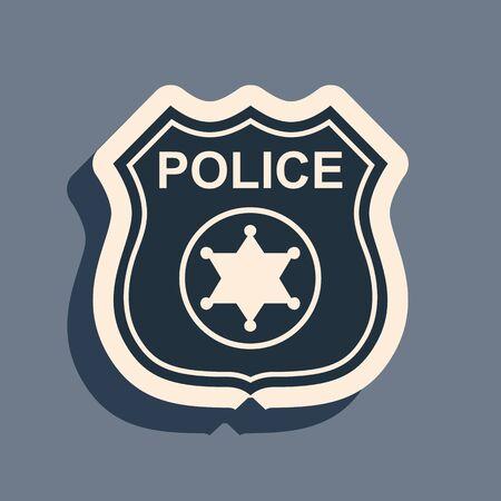 Black Police badge icon isolated on grey background. Sheriff badge sign. Long shadow style. Vector Illustration Ilustração Vetorial