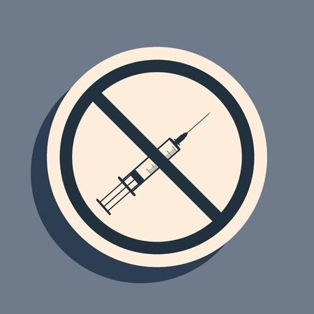 Black No vaccine icon isolated on grey background. No syringe sign. Vaccination, injection, vaccine, insulin concept. Long shadow style. Vector Illustration Ilustração