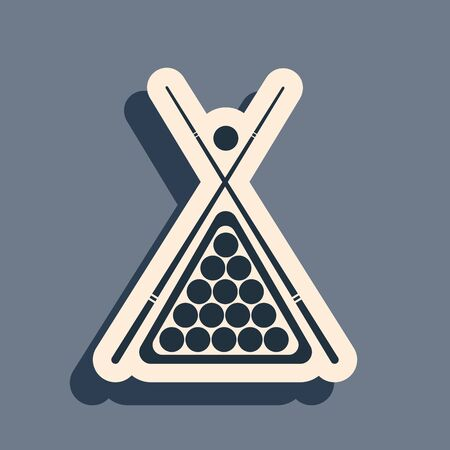 Black Billiard cue and balls in a rack triangle icon isolated on grey background. Long shadow style. Vector Illustration
