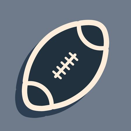 Black American Football ball icon isolated on grey background. Long shadow style. Vector Illustration Illustration