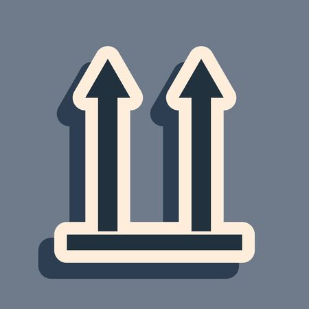 Black This side up icon isolated on grey background. Two arrows indicating top side of packaging. Cargo handled so these arrows always point up. Long shadow style. Vector Illustration