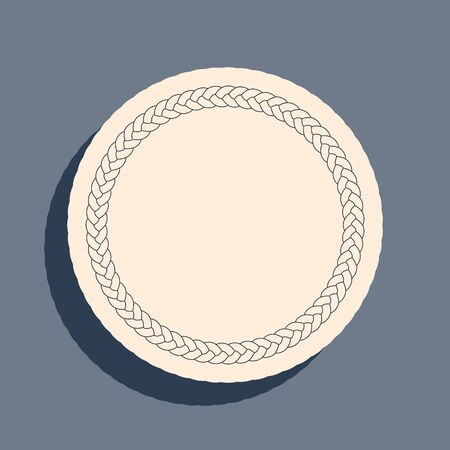 Black Rope frame icon isolated on grey background. Frames from nautical rope. Round marine rope for decoration. Long shadow style. Vector Illustration