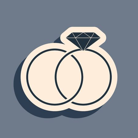 Black Wedding rings icon isolated on grey background. Bride and groom jewelery sign. Marriage icon. Diamond ring icon. Long shadow style. Vector Illustration Ilustracja
