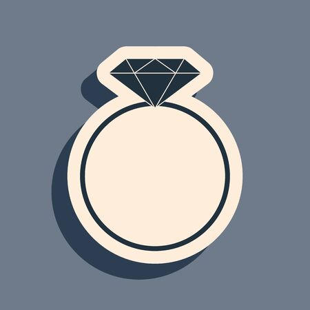Black Diamond engagement ring icon isolated on grey background. Long shadow style. Vector Illustration