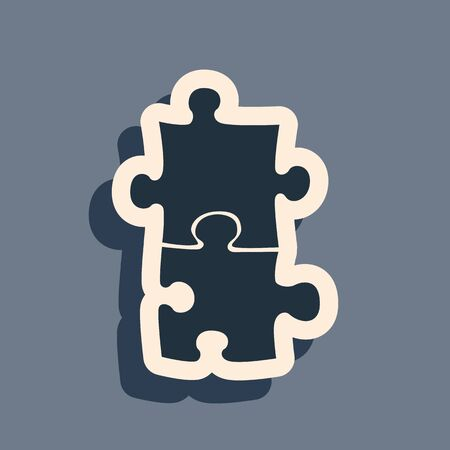 Black Piece of puzzle icon isolated on grey background. Business, marketing, finance, template, layout, infographics, internet concept. Long shadow style. Vector Illustration