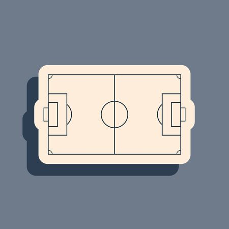 Black Football field or soccer field icon isolated on grey background. Long shadow style. Vector Illustration