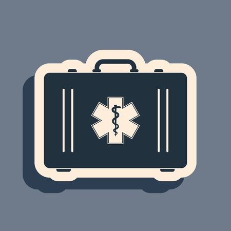 Black First aid kit and Medical symbol of the Emergency - Star of Life icon isolated on grey background. Medical box with cross. Healthcare concept. Long shadow style. Vector Illustration