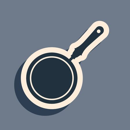 Black Frying pan icon isolated on grey background. Long shadow style. Vector Illustration