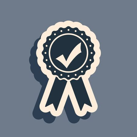 Black Approved or certified medal with ribbons and check mark icon isolated on grey background. Long shadow style. Vector Illustration
