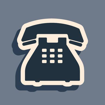 Black Telephone icon isolated on grey background. Landline phone. Long shadow style. Vector Illustration