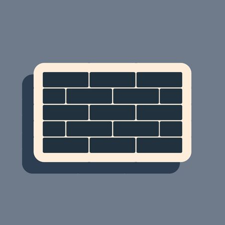 Black Bricks icon isolated on grey background. Long shadow style. Vector Illustration
