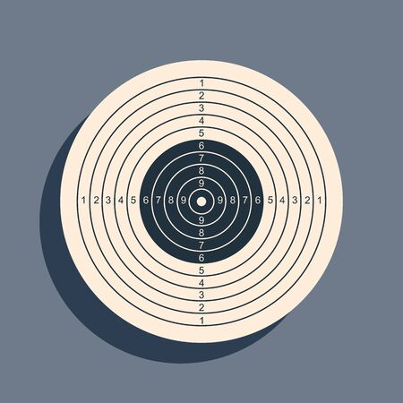 Black Target sport for shooting competition icon isolated on grey background. Clean target with numbers for shooting range or pistol shooting. Long shadow style. Vector Illustration