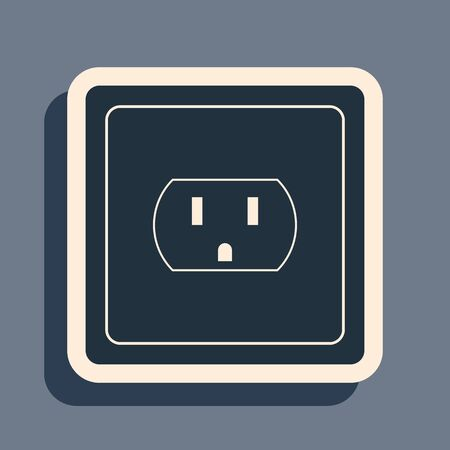 Black Electrical outlet in the USA icon isolated on grey background. Power socket. Long shadow style. Vector Illustration