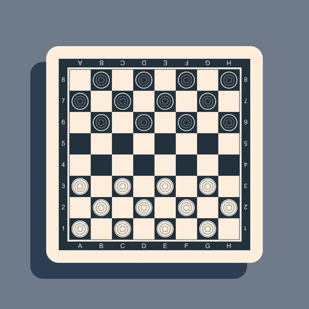 Black Board game of checkers icon isolated on grey background. Ancient Intellectual board game. Chess board. White and black chips. Long shadow style. Vector Illustration