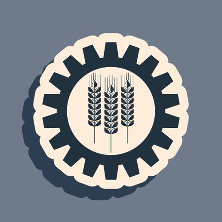 Black Wheat and gear icon isolated on grey background. Agriculture symbol with cereal grains and industrial gears. Industrial and agricultural. Long shadow style. Vector Illustration Ilustração