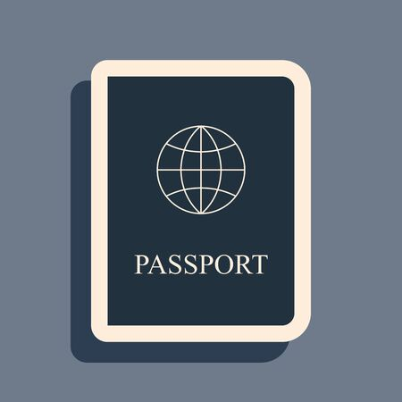 Black Passport with biometric data icon isolated on grey background. Identification Document. Long shadow style. Vector Illustration Foto de archivo - 142329300