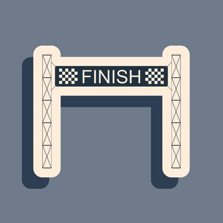 Black Ribbon in finishing line icon isolated on grey background. Symbol of finish line. Sport symbol or business concept. Long shadow style. Vector Illustration