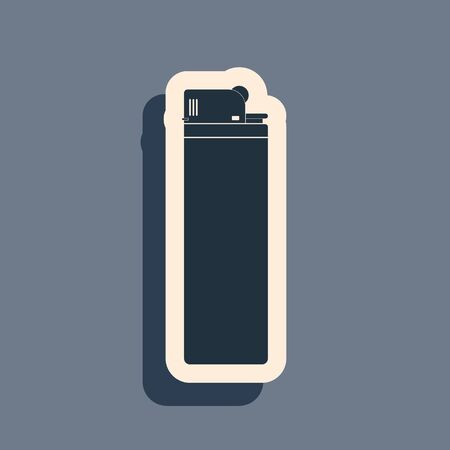 Black Lighter icon isolated on grey background. Long shadow style. Vector Illustration Banco de Imagens - 142827308