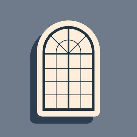 Black Arched window icon isolated on grey background. Long shadow style. Vector Illustration