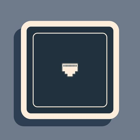 Black Ethernet socket sign. Network port - cable socket icon isolated on grey background. LAN port icon. Local area connector icon. Long shadow style. Vector Illustration