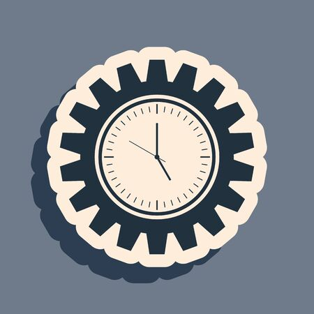 Black Time Management icon isolated on grey background. Clock and gear sign. Productivity symbol. Long shadow style. Vector Illustration