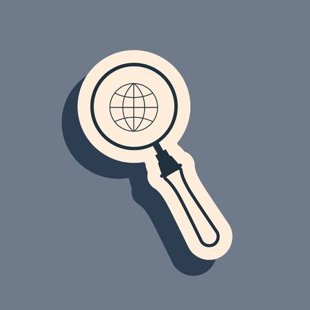 Black Magnifying glass with globe icon isolated on grey background. Analyzing the world. Global search sign. Long shadow style. Vector Illustration