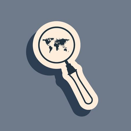 Black Magnifying glass with world map icon isolated on grey background. Analyzing the world. Global search sign. Long shadow style. Vector Illustration Ilustração