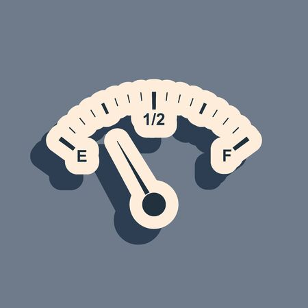 Black Motor gas gauge icon isolated on grey background. Empty fuel meter. Full tank indication. Long shadow style. Vector Illustration Ilustrace