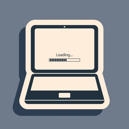 Black Laptop update process with loading bar icon isolated on grey background. System software update. Loading process in laptop screen. Long shadow style. Vector Illustration