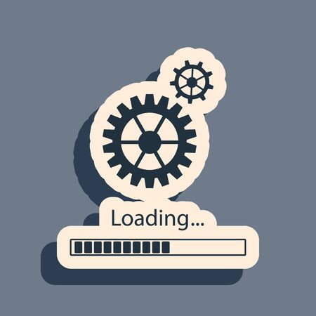 Black Loading and gear icon isolated on grey background. Progress bar icon. System software update. Loading process symbol. Long shadow style. Vector Illustration 向量圖像
