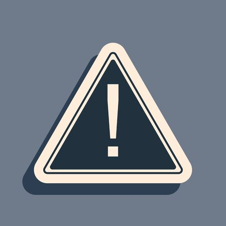 Black Exclamation mark in triangle icon isolated on grey background. Hazard warning sign, careful, attention, danger warning important information sign. Long shadow style. Vector Illustration