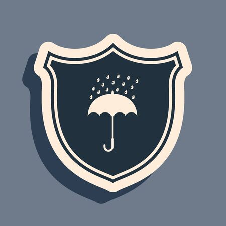 Black Waterproof icon isolated on grey background. Shield and umbrella. Protection, safety, security concept. Water resistant symbol. Long shadow style. Vector Illustration